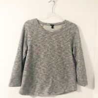 J. Crew Women's Size Medium Gray Marled 3/4 Sleeve Sweatshirt