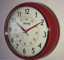 Retro Vintage Diner Wall Clock Round American Kitchen Office Red