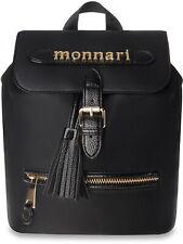 stilvolle Damen Handtasche Rucksack Monnari mit Anhänger schwarz