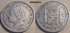 DIFÍCIL moneda de 2 pesetas PLATA de Alfonso XIII año 1894. Peso 9,94 gr.
