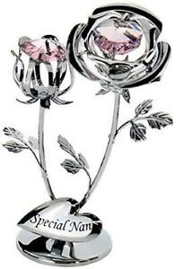 CrystoCraft Special Nan Chrome Plated Rose and Rose Bud with Swarovski Crystals