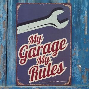 My Garage My Rules Poster Vintage Metal Tin Signs Home Garage Wall Decor