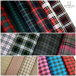 Tartan Plaid Check Poly Viscose Fabric 16 Designs Fashion High Quality 150cm W