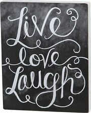 "LIVE LOVE LAUGH Wooden Box Chalk Sign 14"" x 17.5"", Primitives by Kathy"