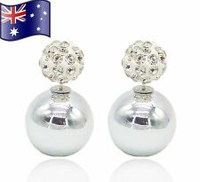 Silver Stylish Double Sided Crystal Pearl Stud Ball Shamballa Diamanté Earrings