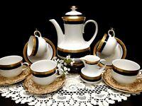 1940's Winterling Marktleuthen Bavaria Cobalt Blue W/ Gold Teapot & Saucers Set
