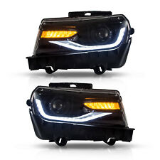 LED Headlight For CHEVROLET CAMARO 2014-2015 Dual Beam Black Housing Head Lens