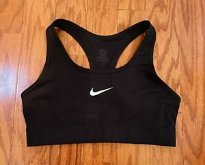 Womens NIKE DRI FIT Sports Bra Medium Black Workout Fitness