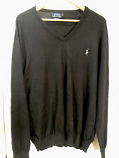 Men's Polo Ralph Lauren Black Pima Cotton Sweater V Neck L/S Pullover Size XL