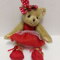 The Bearington Collection Ballet Teddy Bear Red Dress w/ Articulated Arms & Legs