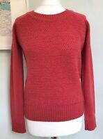 ALLY BEE Pink Red British Wool Moss Stitch Jumper Sz M 10-12 was £139 Raglan Slv