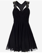 Lipsy VIP Embelished Dress Size 8 Black New RP£100 Prom Party Evening Occasion