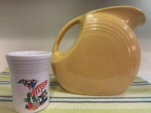 Fiesta SUNPORCH tumbler & Fiestaware V. original YELLOW pitcher sun porch LOT