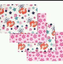 Disney Baby The Little Mermaid Ariel Flannel Receiving Blanket 4 Pk Set Pink NWT