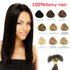 100 pz REMY HAIR EXTENSION capelli umani VERI 100% MICRORING CIOCCHE 0,5g 53cm