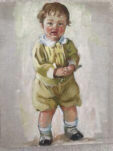 H Christie Victorian Turn of Century Child Original Oil Painting Adorable 10x13