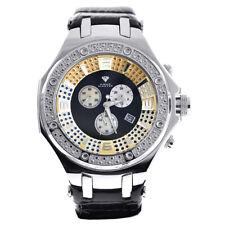 New Aqua Master Mens Diamond Watch Chronograph Genuine Black Leather Strap
