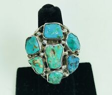 LARGE TURQUOISE NUGGET LADIES RING ROPE DESIGN STERLING SILVER SIZE 5-3/4