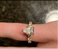 2.43Ct  Solitaire Pear Shape Diamond Fancy Engagement Ring Solid 14K Yellow Gold