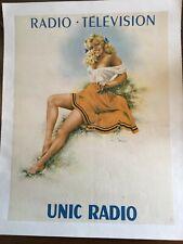 AFFICHE litho ancienne, Radio, UNIC RADIO ,PIN UP