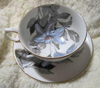 Clarence Bone China Cup and Saucer Shades of Periwinkle and Gray Florals Vintage