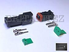 Deutsch DT Series 2 Way Plug Connector Kit DT06-2S C/W Pins & Wedglock DT04-2P