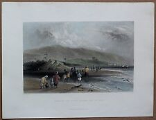 1838 Bartlett print FORD OF KISHON RIVER, BAY OF ACRE, today in Haifa, PALESTINE