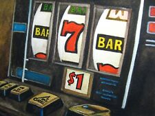 Watercolor Painting Slot Machine Casino Money Game Las Vegas Art 5x7