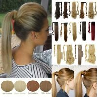 100% Real Thick Clip In As Human Remy Hair Extensions Pony Tail Wrap Ponytail FD