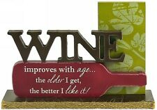'Wine Improves With Age' Free Standing Wooden Kitchen.. Bar Sign .. Humorous ..