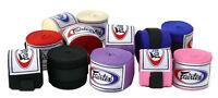 Fairtex Elastic Cotton Handwraps HW2 Full Length Hand Wraps Black Red Blue Pink