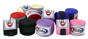 "Fairtex Elastic Cotton Handwraps HW2 Full Length 180"" Hand Wraps Black Red Blue"