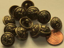 "12 Domed Antiqued Brass Tone Metal Buttons 5/8"" 16mm # 5006"