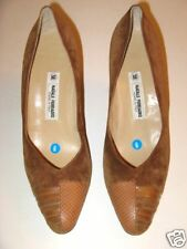 Natale Ferrario Shoes Brown Suede & Snake Vintage 1980's Size 9