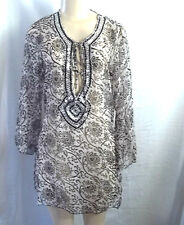BEACH WEAR BLACK WHITE SEQUINS BEADED NECKLINE COVER UP TOP BLOUSE SHEER LARGE