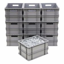 10 x 20 Litre Strong Grey Plastic Parts Storage Container Euro Boxes Box Bins