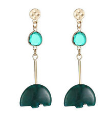 MARNI H&M Green Irregular Shape Stone Pendant Earring Set