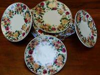 Antique Rose Pattern, Fine China Dessert Plate - Set of 4- Adult Size