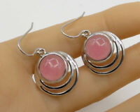 925 Sterling Silver - Vintage Cabochon Cut Gemstone Swirl Drop Earrings - E1681