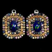 Oval Fire Opal 8x6mm Sapphire Round Diamond Cut 925 Sterling Silver Earrings