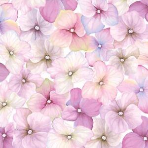 4 x Single Paper Napkins/3 Ply/Decoupage/Craft/Pink Hydrangea Pattern