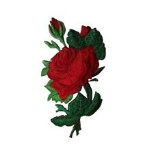 ID 6680 Red Rose Flower and Buds Plant Iron On Embroidered Patch Applique
