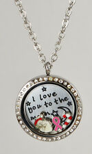 Stainless Steel Silver Plated with RhineStones Round Floating Living Locket