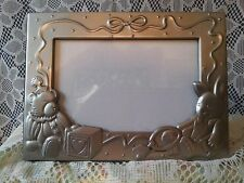 Pewter Baby Theme Bear Bunny Block Standing Picture Frame