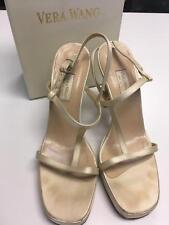 VERA WANG Champagne Satin Platform T Strap High Heel Formal Shoes Sz 6.5M B4101