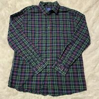 Le Tigre Mens Size Large Green Plaid Long Sleeve Button Down Shirt EUC