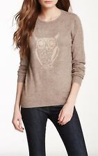 New Sisters Light Brown Angora Sweater/Pullover Owl Design- M