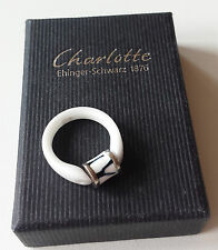 Charlotte Ehinger Schwarz - Tipit Keramikring weiß, Ringgröße 16,0