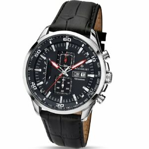 Accurist Chronograph Black Dial Black Leather Strap Gents Mens Watch 7004