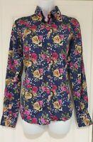 Womens Claudio Lugli Blue Floral Roses Long Sleeve Cotton Shirt Blouse Size 12.